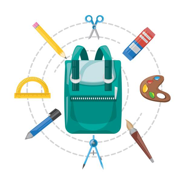 accesories school tools to study education vector art illustration