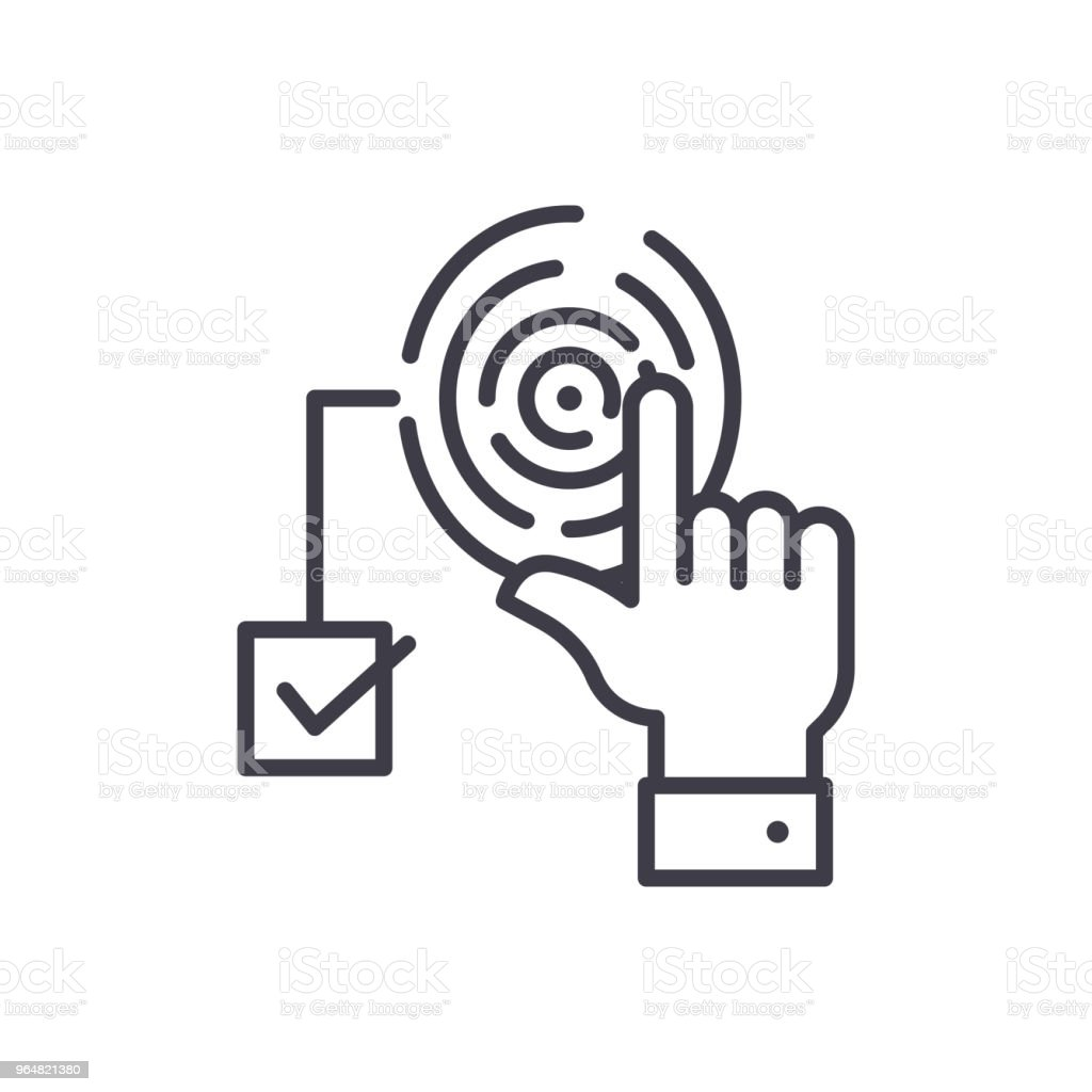 Access by fingerprint black icon concept. Access by fingerprint flat  vector symbol, sign, illustration. royalty-free access by fingerprint black icon concept access by fingerprint flat vector symbol sign illustration stock vector art & more images of accessibility