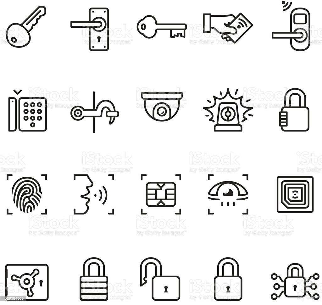 access control system icons unico pro series stock vector
