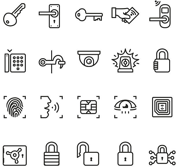 Access control system icons - Unico PRO series Access control system icons collection. vehicle door stock illustrations