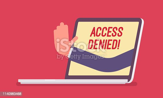 istock Access denied sign on laptop screen 1140983468