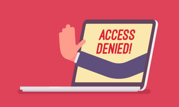 Access denied sign on laptop screen Access denied sign on laptop screen. Hand from device showing user does not have permission to file, system refuses password and entry to computer data, error with red signal. Vector illustration accessibility stock illustrations