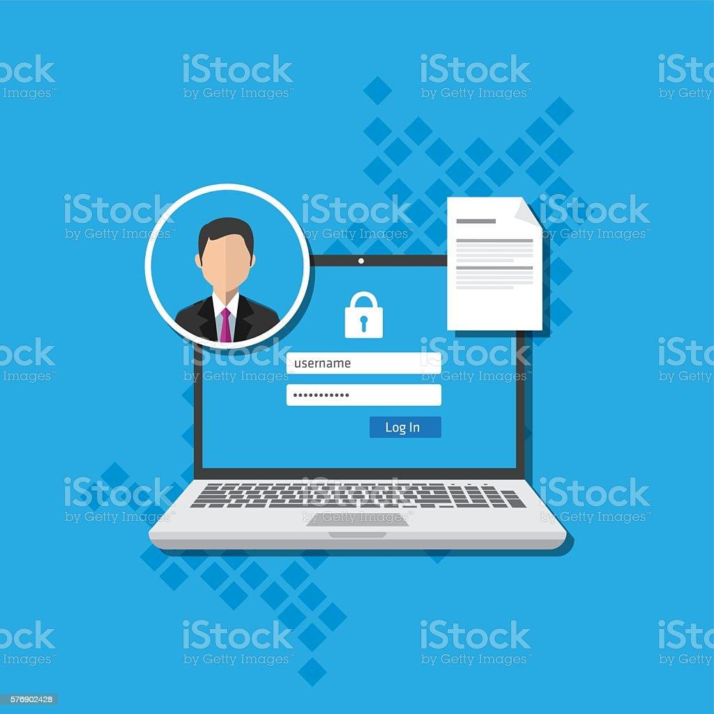 access management authorize software authentication login form system vector art illustration