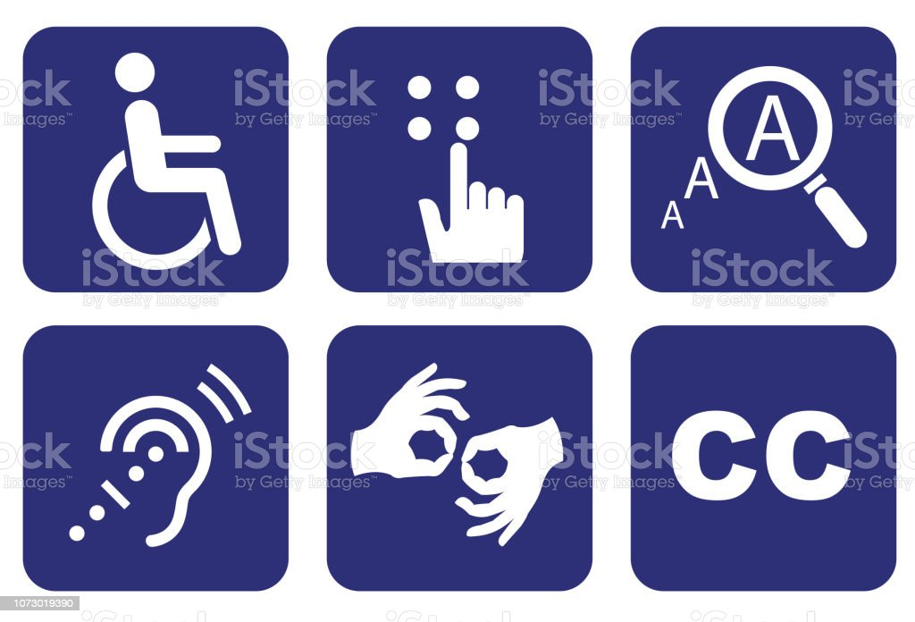 Accessibility icon set - Royalty-free Acessibilidade arte vetorial