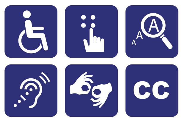 Accessibility icon set Accessibility icon set, Accessibility concept signing stock illustrations