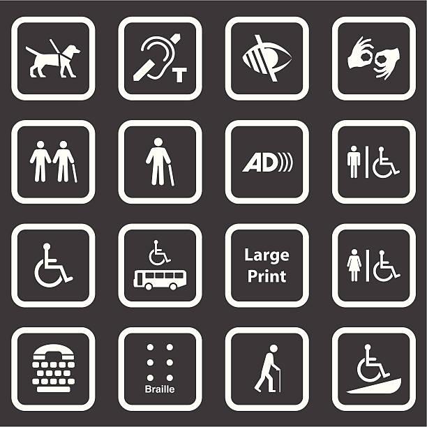 illustrazioni stock, clip art, cartoni animati e icone di tendenza di serie di icone di accessibilità (bianco - sordità