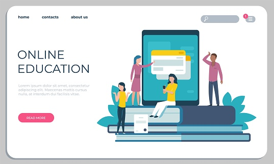 Accessible education website. Online learning for disabled people concept. Vector access page training students and professor