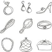 Sketch drawing of accessories.