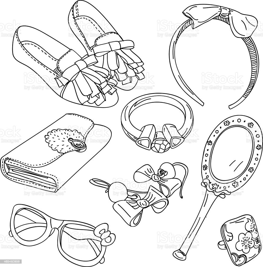 Accessories Collection vector art illustration