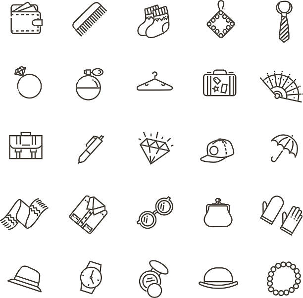 accessories concept illustration, line flat design accessories vector outline icons set. Fashion and beauty change purse stock illustrations