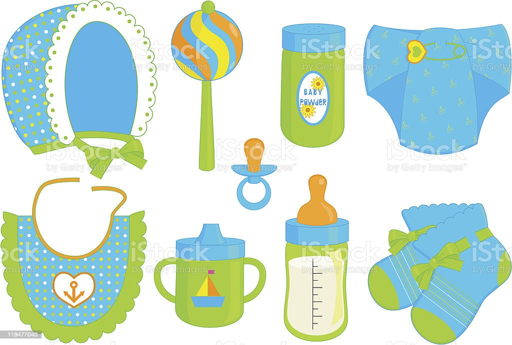 accessories for baby boy vector art illustration