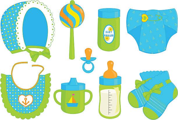 accessoires für babys – jungen - hauben stock-grafiken, -clipart, -cartoons und -symbole