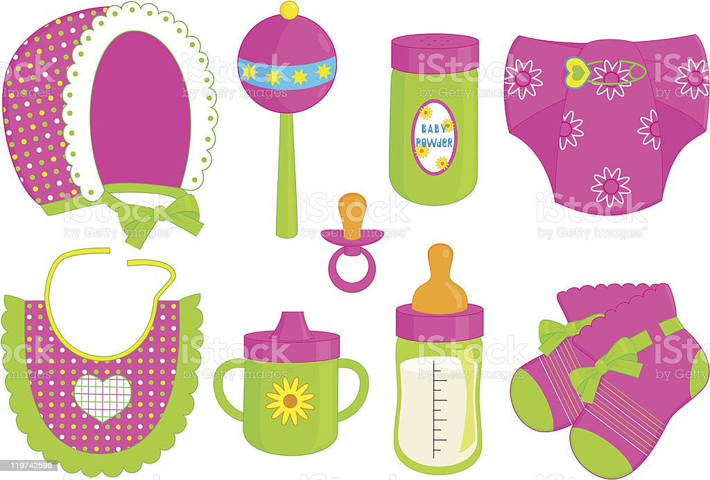 accessories for baby girl vector art illustration