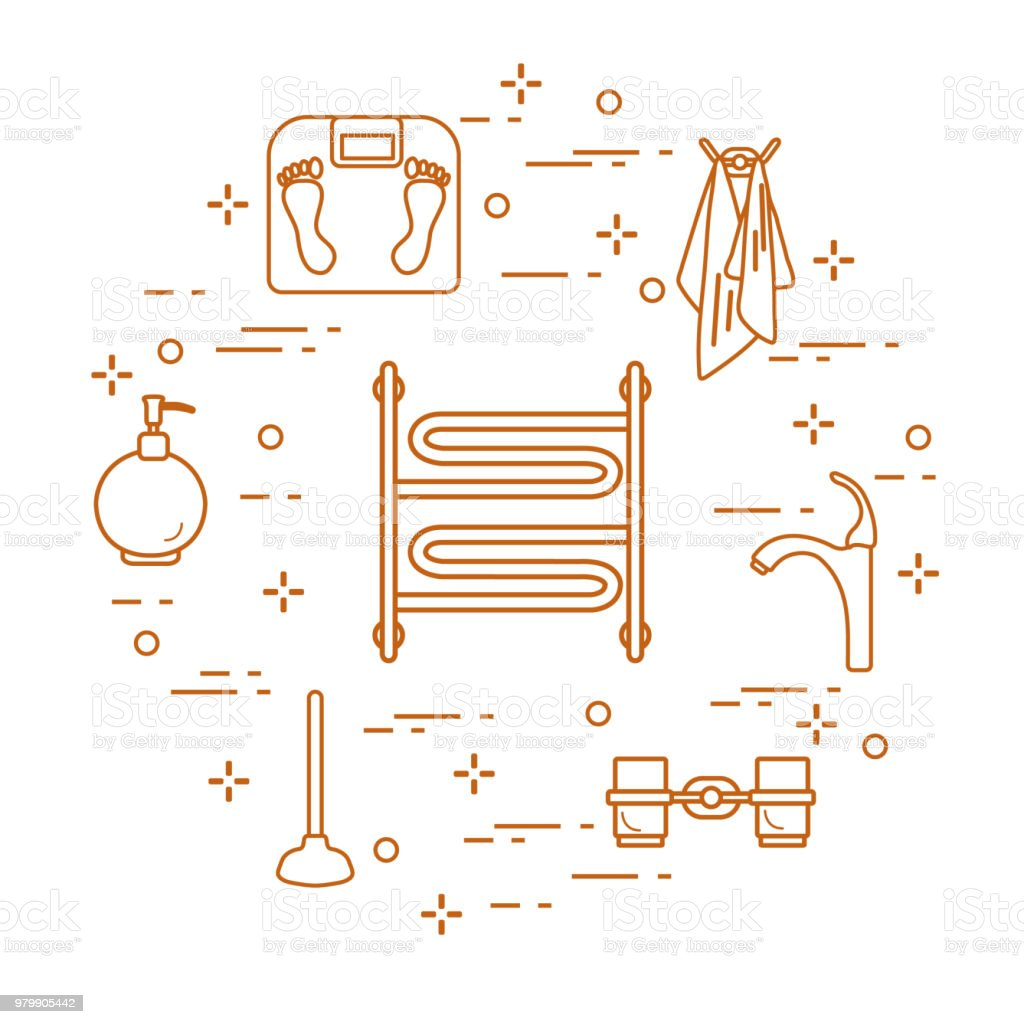 Accessories For Bathroom Stock Vector Art & More Images of Apartment ...