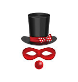 Accessories for clown - hat, mask, red nose