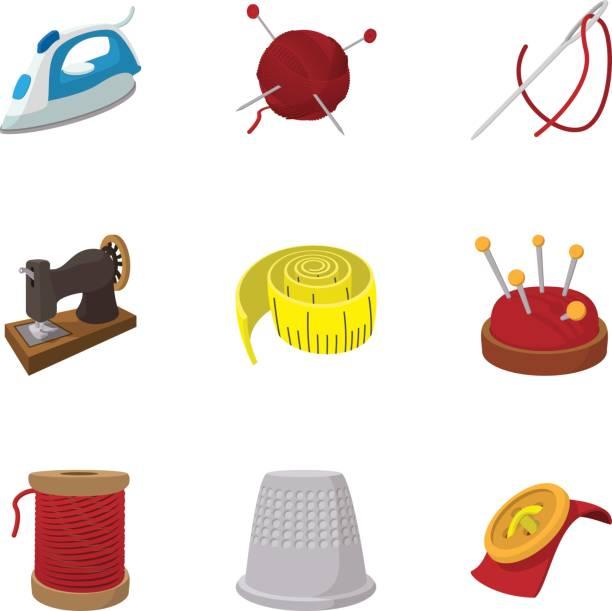 Zubehör für Nähen Workshop Icons set – Vektorgrafik