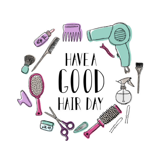 accessories for the hairdresser s. motivational quote have a good hair day - hairdresser stock illustrations