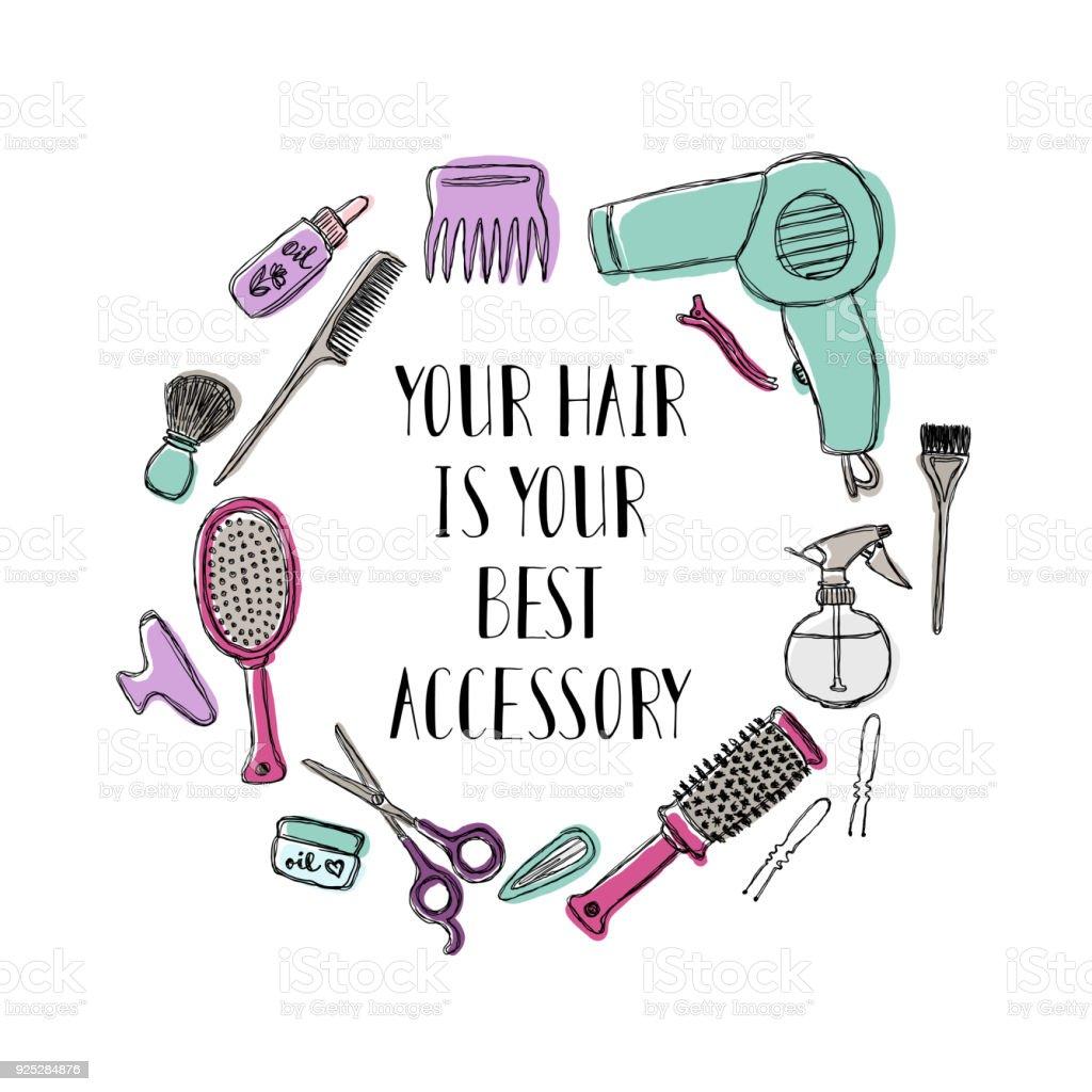 Acessórios para o cabeleireiro s. motivacionais citar seu cabelo é seu melhor acessório - ilustração de arte em vetor