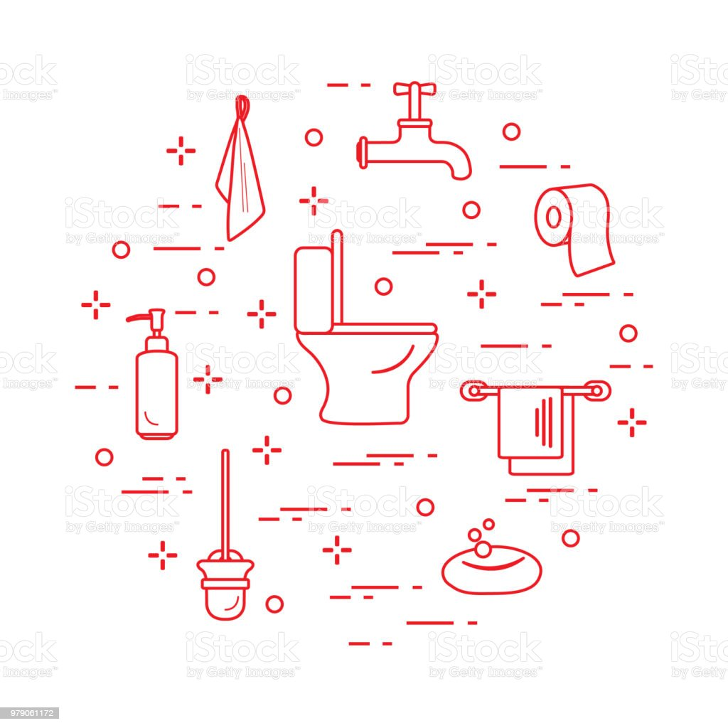 Accessories For Toilet Rooms And Bathroom Stock Vector Art & More ...