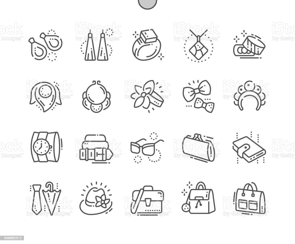 Accessories Well-crafted Pixel Perfect Vector Thin Line Icons 30 2x Grid for Web Graphics and Apps. Simple Minimal Pictogram vector art illustration