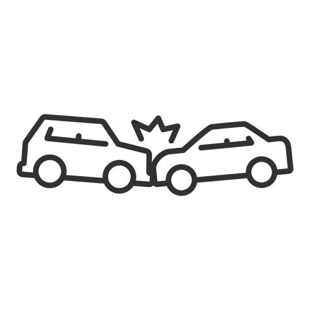 bildbanksillustrationer, clip art samt tecknat material och ikoner med olycka. en frontalkrock mellan bilar. linje med redigerbar linje - krockad bil