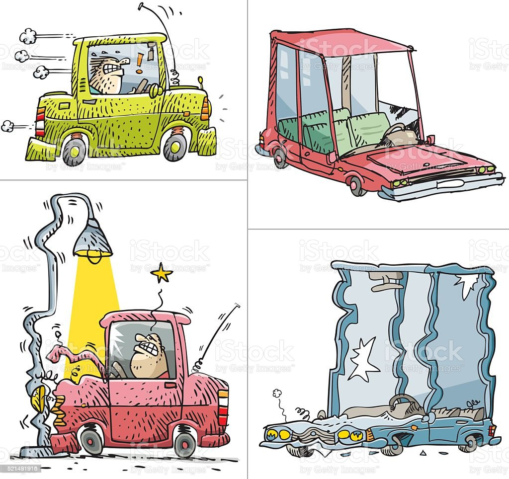 Accident car and rickety sketches vector art illustration