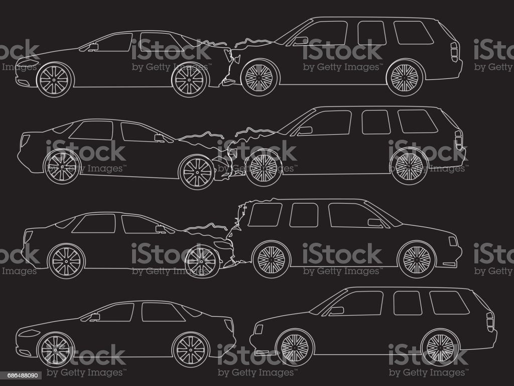 Accident Car Icons Hand Drawing Stock Vector Art & More Images of ...