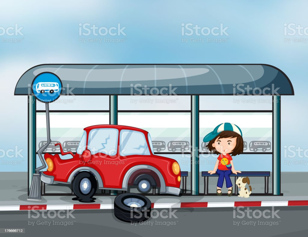 accident near the waiting shed with a young girl royalty-free accident near the waiting shed with a young girl stock vector art & more images of adult
