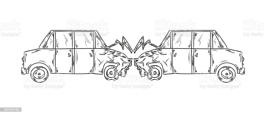 Accident Of Two Cars Sketch Stock Vector Art & More Images of ...