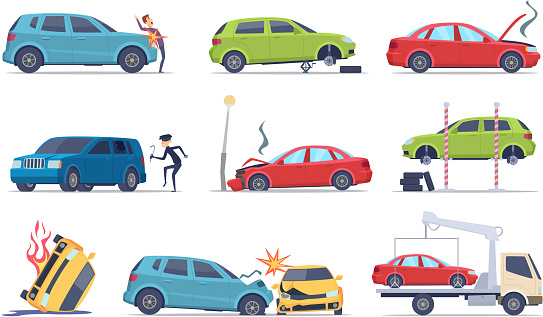 Accident on road. Car damaged vehicle insurance transportation theif repair service traffic vector pictures collection