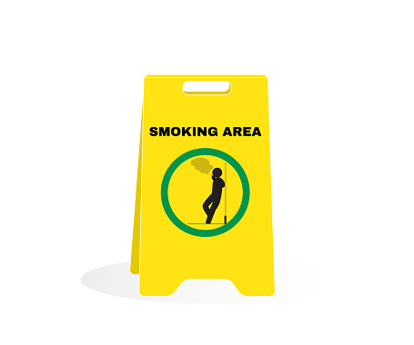 Accident Prevention signs, CAUTION board with message NO SMOKING AREA. beware and careful Sign, warning symbol design concept, vector illustration