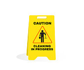 istock Accident Prevention signs, Yellow caution plastic with message CAUTION Cleaning in progress. beware and careful Sign, warning symbol, road sign and traffic symbol design concept, vector illustration. 1182212201