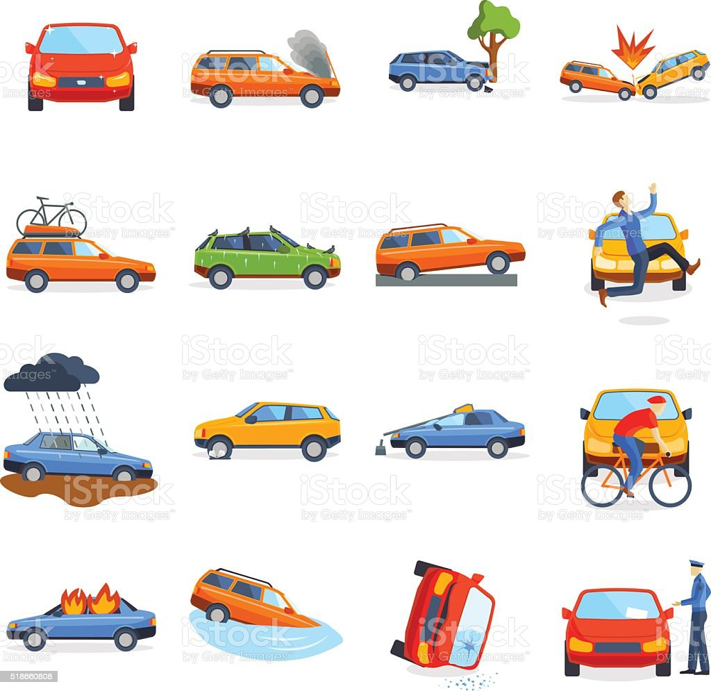 Accident road on street damaged automobiles after collision car crash vector art illustration