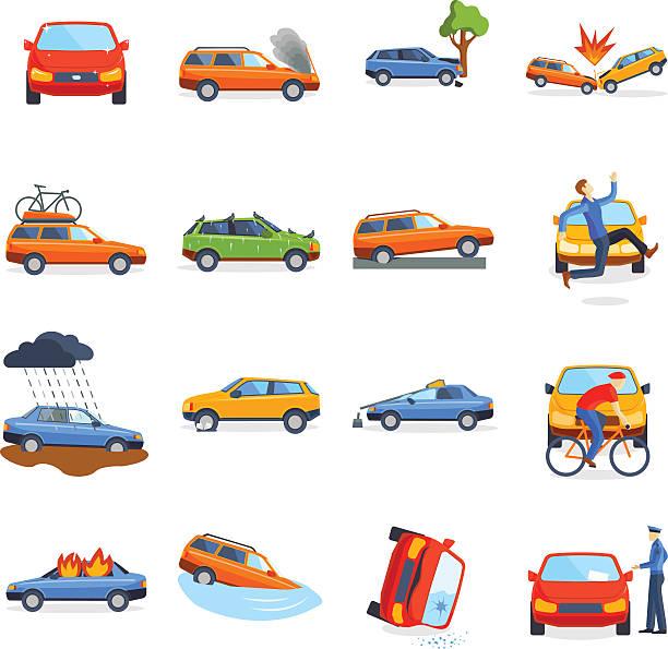 bildbanksillustrationer, clip art samt tecknat material och ikoner med accident road on street damaged automobiles after collision car crash - krockad bil