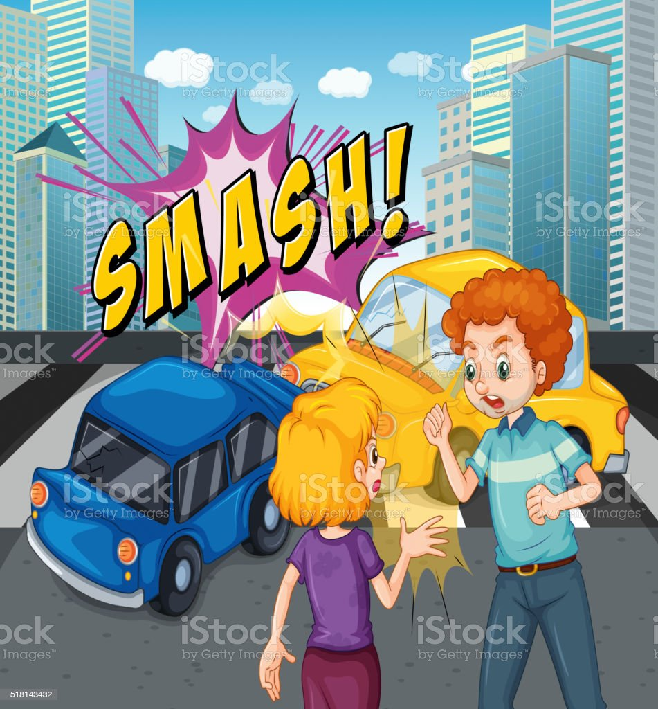 Unfall Szene Mit Dem Auto Absturz Vektor Illustration 518143432 | iStock