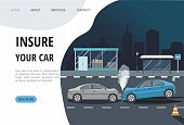Accident with two cars isolated on city background. Landing page template. Vector Illustration