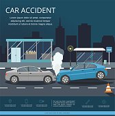 Accident with two cars on the road of night city. Transporation Infographic.
