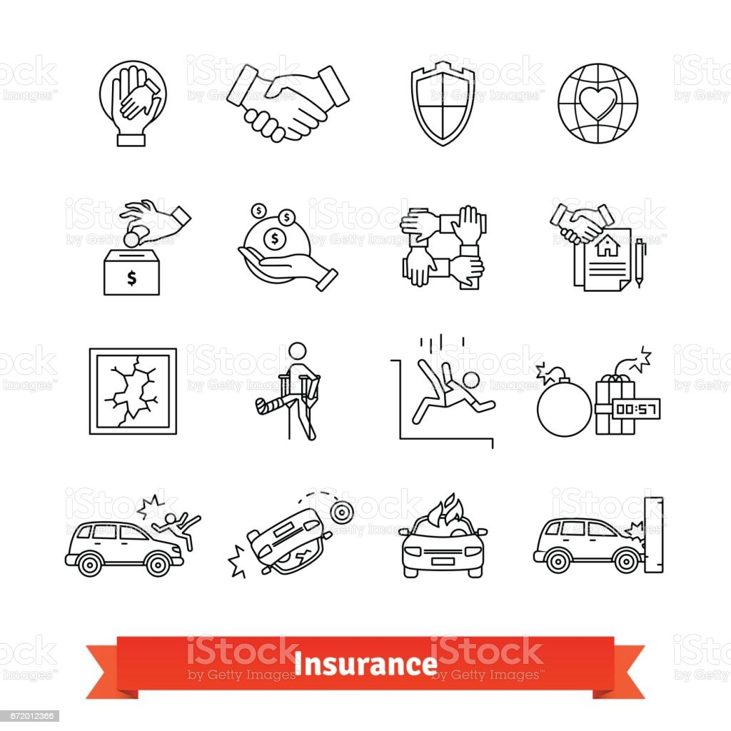 Accidents and Insurance. Thin line art icons set vector art illustration