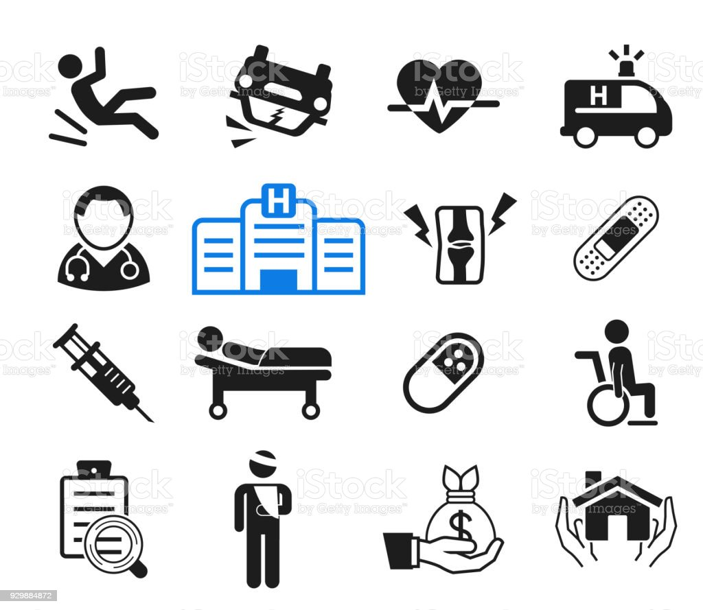 Accidents and life insurance for hospital treatment icon concept. How to medicare with doctor. vector art illustration