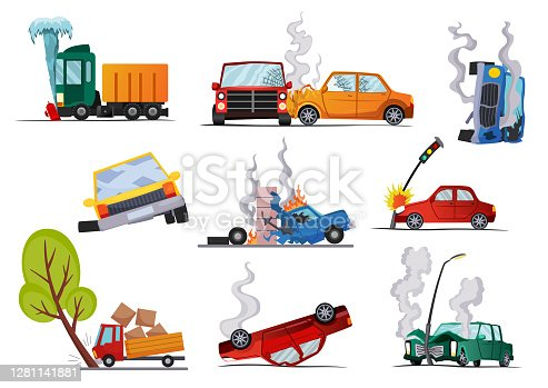 istock Accidents on road cars damaged. Road accident icons set with car crash symbols flat isolated. Damaged vehicle insurance. Damaged autos. Need repair service or not recoverable 1281141881