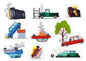 istock Accidents on road cars damaged. Road accident icons set with car crash symbols flat isolated. Damaged vehicle insurance. Damaged autos. Need repair service or not recoverable 1302159663
