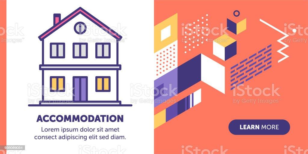 Banner de alojamento - ilustração de arte em vetor
