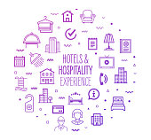 Accommodation hotels and hospitality outline style symbols with modern gradient colors. Line vector icons for infographics, mobile and web designs.
