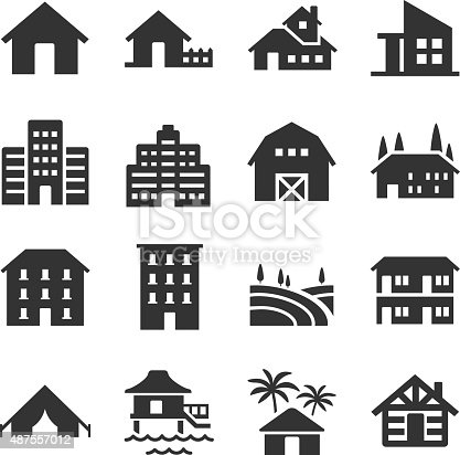 A set of many property type icons