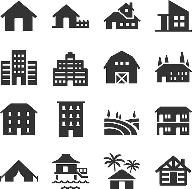 Accommodation type icons A set of many property type icons villa stock illustrations