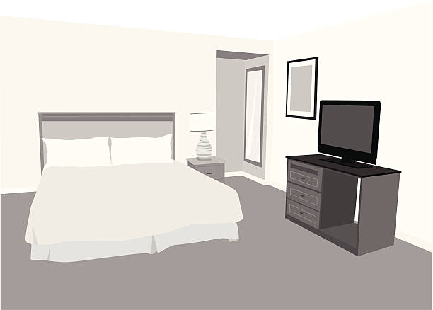 Accommodation Vector Silhouette A-Digit bedroom silhouettes stock illustrations