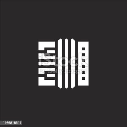 istock accordion icon. Filled accordion icon for website design and mobile, app development. accordion icon from filled music festival collection isolated on black background. 1166818511