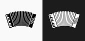 istock Accordion Icon on Black and White Vector Backgrounds 834930762