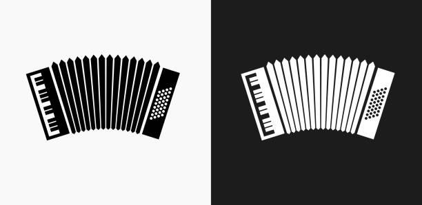 Akkordeon-Symbol auf schwarz-weiß-Vektor-Hintergründe – Vektorgrafik
