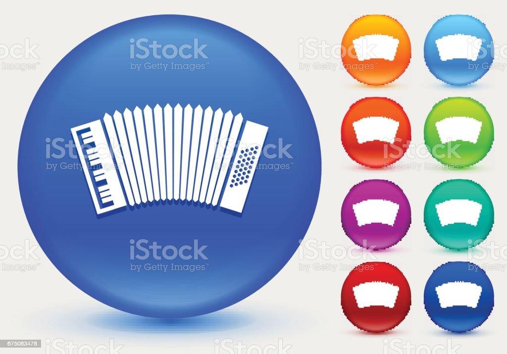 Icono de acordeón de botones círculo brillante de Color - ilustración de arte vectorial